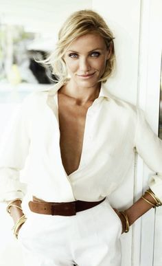 Cameron Diaz in all-white jumpsuit