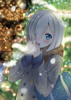 ✮ ANIME ART ✮ Hamakaze...winter...cold...scarf...coat...blue eyes...white short hair...cute...kawaii