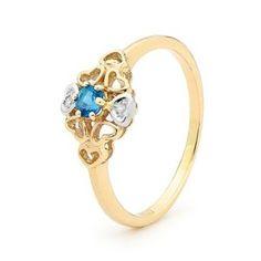 Blue topaz gold heart flower women's ring #December #Saggitarius #Birthstone #jewelry | Buy at http://www.justjewellery.com.au/ViewProduct.aspx?ProductId=25386