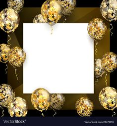 Balloon with golden stars on square realistic Vector Image Happy Birthday 18th, Happy Birthday Frame, Happy Birthday Celebration, Happy Birthday Wishes Cards, Birthday Wishes Quotes, Birthday Frames, Happy Birthday Images, Bday Background, Birthday Background Design