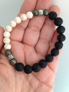 Men's bracelet, black lava stones, pyrite and white Howlite, calming, healing stones, healing jewelry on Etsy, $30.87 CAD