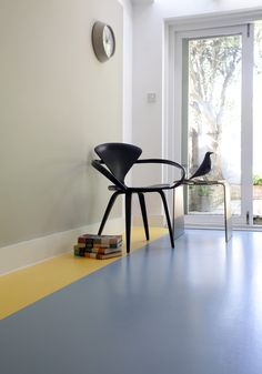Our China Blue with a lovely Lemon stripe #interiors #flooring #vinyl #yellow #grey