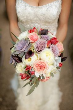 Lavender cream and blush bridal bouquet
