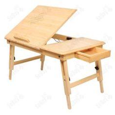 Table Tablette De Lit Pliable Pc Portable Double Plateaux, Hauteur Réglable En Bambou, Fbt04-W
