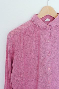 Pink Button Up Shirt // Peter Pan Collar Vintage Blouse by Cobys