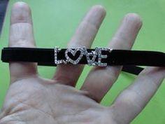 Black velvet crystal Love choker