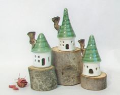 Garden Fairy Houses Pick Your Set of by SuzannesPotteryFarm