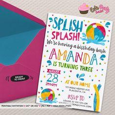 47b1134bb2 Pool party invitation Printable pool party Birthday invitation Girl pool  party decorations beach ball Birthday beach ball invitation summer