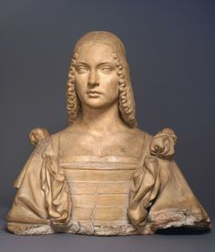 Attributed to Gian Cristoforo Romano, Italian (c. Portrait of a Woman, Probably Isabella d'Este c. 1500 Terracotta, formerly polychromed x in. x cm) AP Kimbell Art Museum Italian Renaissance Dress, Statues, Historical Hairstyles, Monument Men, Landsknecht, Late Middle Ages, Terracota, Lugano, Italian Art