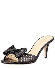 mailyn patent cutout slide, black by kate spade new york at Bergdorf Goodman.