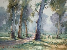 Home page of Ron Muller, Australian master watercolour painter Learn Watercolor Painting, Watercolor Art Landscape, Watercolor Architecture, Watercolor Pictures, Watercolor Trees, Landscape Art, Landscape Paintings, Watercolour Art, Australian Painting