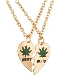 Friendship Weed Necklace - 'Best Buds' - ONLY $9! http://getazongbong.com/best-buds-friendship-weed-necklace/