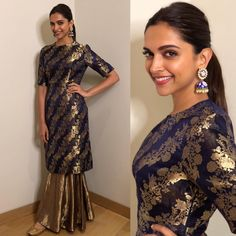 Deepika Padukone in Raw Mango; ditch the dupatta with this look and this is perfect for sangeet and engagement. Sharara Designs, Kurta Designs Women, Kurti Designs Party Wear, Designer Party Wear Dresses, Indian Designer Outfits, Indian Gowns Dresses, Pakistani Dresses, Indian Attire, Indian Ethnic Wear