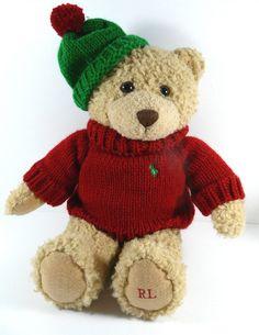 "Ralph Lauren Teddy Bear Plush 2006 Red Knit Sweater Polo Pony Logo Green Hat 15"" #RalphLauren"