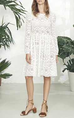 Lace Broderie Long Sleeve Dress by NEEDLE & THREAD for Preorder on Moda…