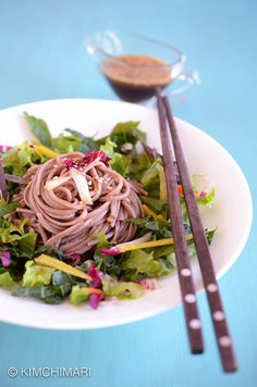 Soba or Buckwheat Noodle Salad with sesame soy dressing. Simply delicious. Great as a meal or side dish to any Korean meal.