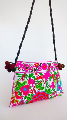 White Embroidery Floral Bag Boho Crossbody Bag Hmong by pasaboho