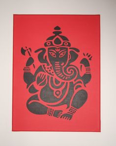 Hand-painted acrylic painting on canvas of Ganesh