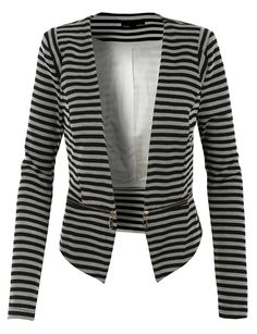 LE3NO Womens Slim Fit Striped Blazer Jacket with Detachable Hem