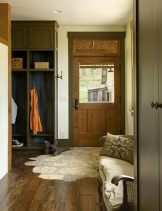 New build farmhouse by Marcus di Pietro, mudroom with open cupboards | Remodelista