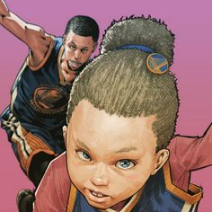 Riley x Stephen Curry Dynamic Duo Illustration - Hooped Up Basketball Memes, Basketball Art, Bay Sports, Sports Art, Mike Friends, Wardell Stephen Curry, Nba Pictures, Basket Sport, Basketball