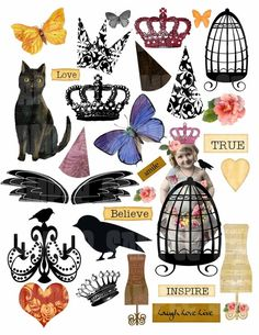 New Mixed Me Altered Art Digital Collage Sheet for Cards Decoupage Mixed Media