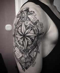 Compass and anchor tattoo on sleeve - 100 Awesome Compass Tattoo Designs <3 <3