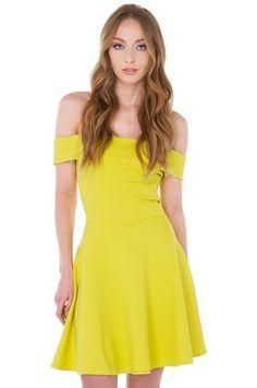 ba70c95b8f Heartbreaker Off Shoulder Lime Skater Dress