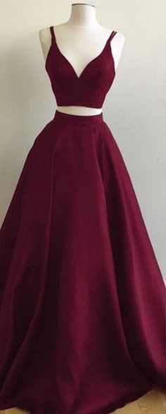 Burgundy Two-Piece Prom Dresses Straps Sleeveless Puffy A-line Evening Gowns #longpromdresses