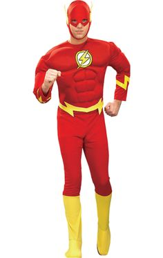 Adult Muscle Chest The Flash Super Hero Costume