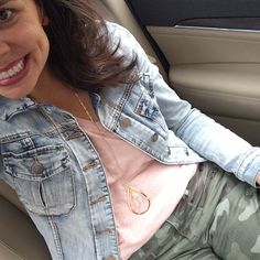 my MUST HAVE denim jacket, soft pink Madewell tee, new necklace (that's only $18!), and camo pants!