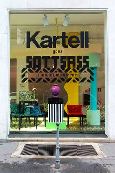 Kartell goes Sottsass store window in Milan /// More on Interiorator.com