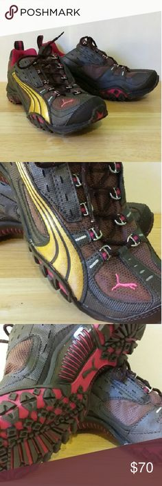 NEW Puma Darby trail racer Brand new, never worn Puma trail running shoes. Brown, gold, and pink. I have these in other colors, and they're great! Integrated tongue, so it doesn't slip down or to one side. True to size. Puma Shoes Athletic Shoes