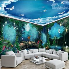 Blue/Green Sky Ocean Waterproof Ceiling and Wall Murals Large Wall Murals, Custom Wall Murals, Ceiling Murals, 3d Wall Murals, Floor Murals, Bedroom Murals, Wall Stickers Wallpaper, Floor Wallpaper, Nursery Wallpaper