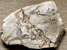 Daily life of ancient Egyptians. Ostraca of hunting a lion with a spear, aided by a dog. Ancient Egypt Facts About Pyramids for Kids - Cool and Interesting Facts for Kids