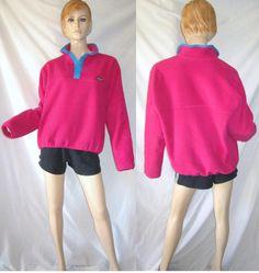 Vtg PATAGONIA Hot Pink Fleece Snap T Retro Pullover Jacket L | eBay