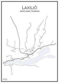 Laxsjö. Jämtland. Sverige. Karta. City print. Print. Affisch. Tavla. Tryck.