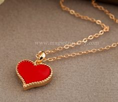 Gold Clover Necklace / Gold heart Necklace, 4 Colors For Choice, Lucky flower necklace, bridesmaid gifts,Wedding jewelry, SALE on Etsy, $2.99