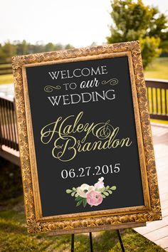 An elegant black and gold chalkboard wedding sign to welcome your guests on your special day! Simply print and frame! *frame shown is just an example*  This listing is for a PRINTABLE large wedding sign for you to print on your own. A chalkboard black is standard, but custom background colors CAN be requested during checkout.  Available in 5 sizes (please let me know if you require another size than ones shown)  File will be emailed to the email address on file with etsy.  WHERE DO I PRINT…