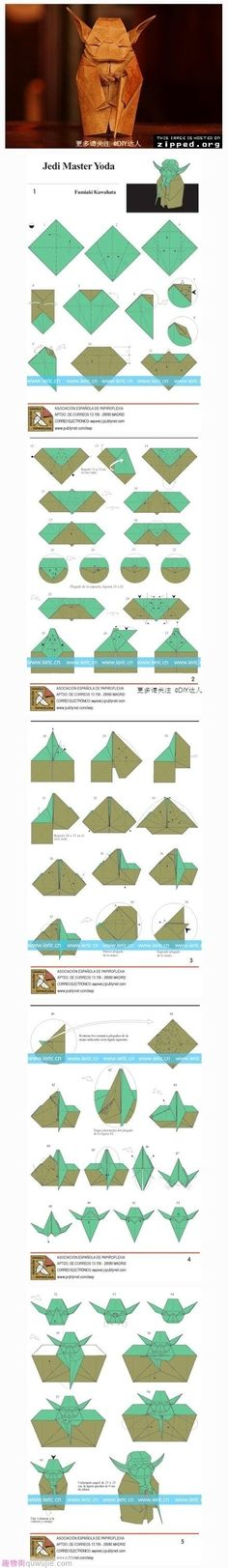 Origami Jedi Master Yoda. I am totally going to make this!!!