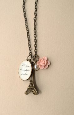 """""""It was love at first sight"""" Eiffel Tower necklace. Love this❤"""