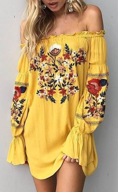 Shop Yellow Off Shoulder Embroidery Floral Flare Sleeve Mini Dress from choies.c… - Women Fashion Hippie Style, Mode Hippie, Bohemian Mode, Bohemian Style, Boho Chic, My Style, Vintage Bohemian, Gypsy Style, Hippie Chic