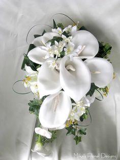 artificial_foam_calla_lily_silk_tiger_lily_orchid_teardrop_bouquet.jpg (488×650)