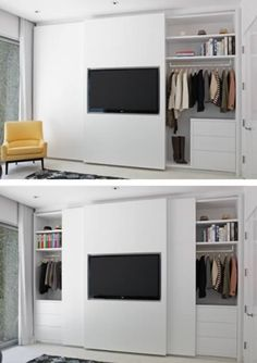 At first glance this just appears like a well-organized wardrobe closet, but if you take a closer look you'll see one of the most creative closets ever! Designed by Lisa Adams of LA Closet Design, the clean, modern closet design features a flat screen on Bedroom Wardrobe, Wardrobe Closet, Master Closet, Bedroom Tv, Wardrobe Storage, Travel Wardrobe, Modern Closet, Modern Bedroom, Modern Wardrobe