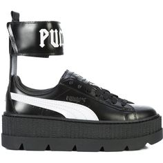 Fenty X Puma ankle strap platform sneakers ($213) ❤ liked on Polyvore featuring shoes, sneakers, black, footwear, puma trainers, black leather trainers, puma shoes, black ankle strap shoes and platform trainers