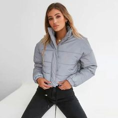 UO Exclusive Fila Toto Reflective Silver Cropped Puffer ...