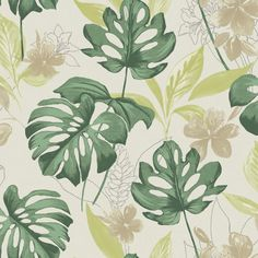 Leafy tropically inspired wallpaper on a natural coloured background. From the Paradise collection, Panama 98351 by Holden. Available in NZ through Guthrie Bowron stores.