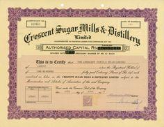 HWPH AG - Historic stock certificates - Crescent Sugar Mills & Distillery Limited / Pakistan /