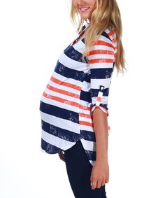 Take a look at this PinkBlush Maternity Navy & Orange Stripe Maternity Hi-Low Top on zulily today!