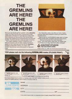 Gizmo 1984 Don Post vintage RARE Gremlins horror mask Gremlins, Vintage Ephemera, Vintage Ads, 90s Pop Culture, My Favorite Year, Movie Market, Horror Masks, Tv Ads, Comic Panels